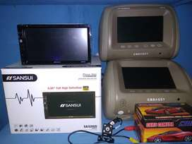 Paket Doubledin tv sansui autolink headrest camera parkir plus pasang