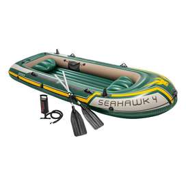 Intex Seahawk 4 Inflatable Boat Set Plus Oars Pump And Motor Mount