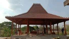 Bangunan Pendopo Joglo Kayu Jati, Rumah Joglo Dinding Ukiran Gebyok