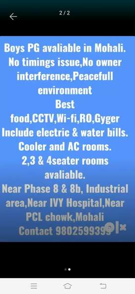 Pg for Boy's in Mohali near industrial area with all facilities.