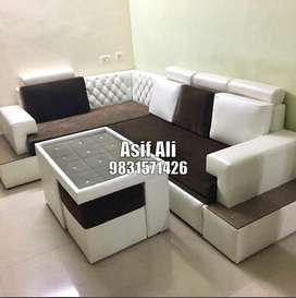 Manufacturing corner sifa with table and puffy