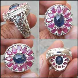 Natural Neelam+Ruby Yaqoot Stone With Beautiful Hand Made Silver Ring