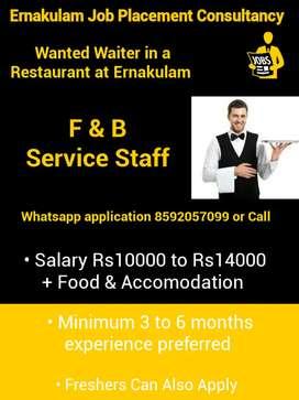 Waiter in a Restaurant at Ernakulam
