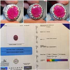 Batu Red Ruby Burma Myanmar Heat Sertifikat 5.42 crt