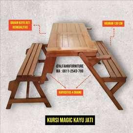 kursi magic jati, kursi lipat outdoor magic