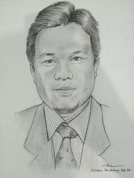 Sket wajah kertas dan kanvas