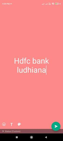 Fresher Graduate Needed for  hdfc bank ludhiana