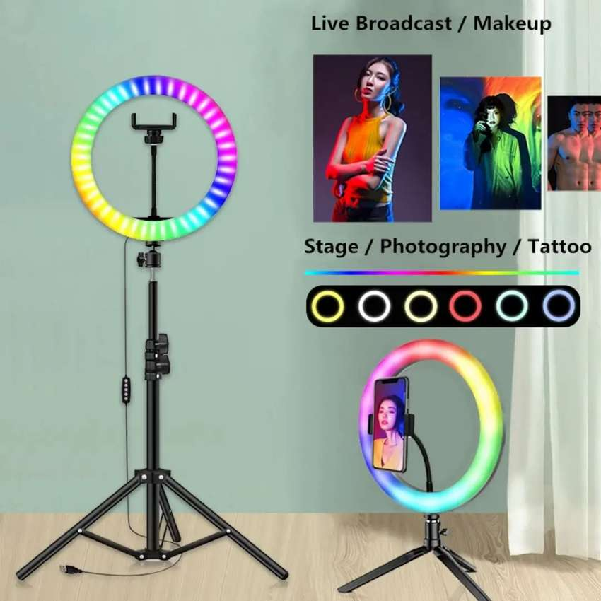 RGB LED SOFT RING LIGHT with Tripod Stand Back height 7 Ft