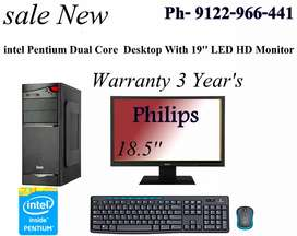 "Sale New Pentium Dual Core Desktop With 19"" LED HD Monitor Warranty 3y"