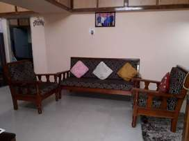 Teak wood sofa set with 2 additional chairs& dining table with 4 chair
