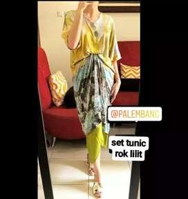 dress jumputan set tunic dan rok limited edition