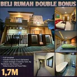 Rumah full furnished plus 5 kamar kos di Cipayung Jakarta timur