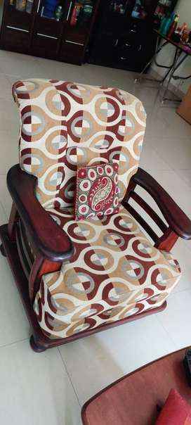 Teak wood (Burma teak) Sofa set 5 seater (3+1+1)in excellent condition