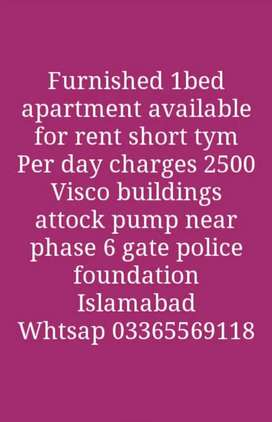 Furnished 1 bed appartment available on rent