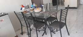 Rod iron dinning table with six chairs