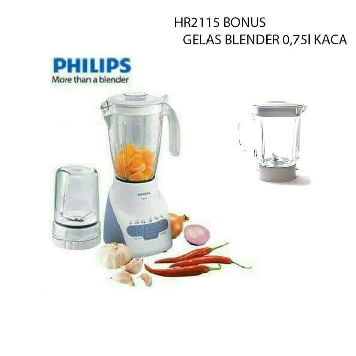 Philips HR2115 Blender Plastik Bonus Gelas Blender 0.75L Kaca
