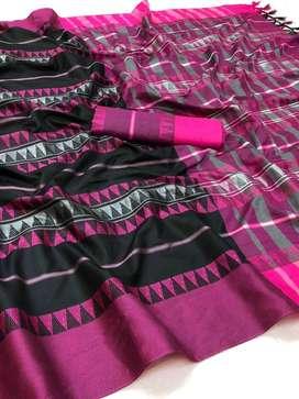soft silk weaving saree with silver zari saree