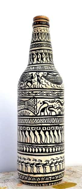 Bottle Painting - Tribal