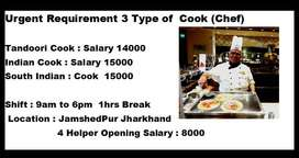 Urgent Requirment Chinies & South Indian cook In Hotel Rehna Free