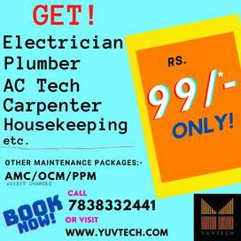 Call in Rs. 99/- Electrician, Plumber, AC, Carpenter, Housekeeping