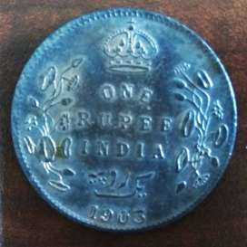 1903 British India One Rupee Coin