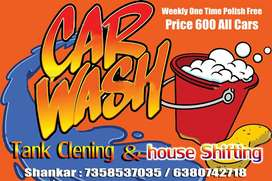 Car cleaning and house shifting and water tank cleaning