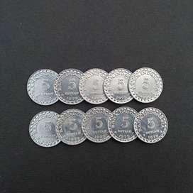 Uang Kuno 5 Rupiah KB Kecil