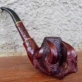 Cangklong tembakau Padudan Tobacco pipe semi churchwarden ukiran