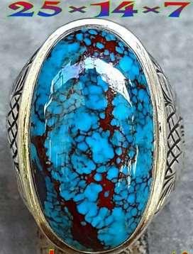 Natural pirus ring perak