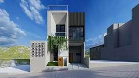 Rumah villa 2 lantai plus rooftop