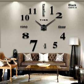 Jam Dinding 3D Giant Wall Clock - Warna Silver