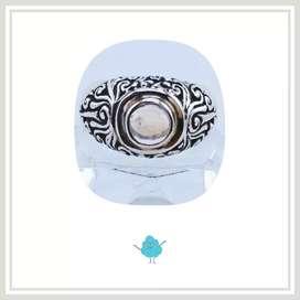 cincin perak model barong bali batu moonstone bluish