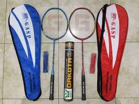 Raket Badminton Bulu Tangkis Lengkap 2 Raket Grip Tas Kok Bulutangkis