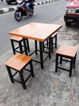 Set Meja Makan Kursi Tanpa Sandaran Cafe Warung Rumah Makan Restoran