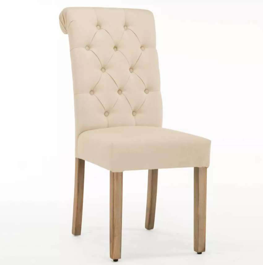 Roll top tufted dining chair 0