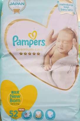 Pampers New Born ato Baru Lhr 52 pcs-Tipe Perekat sd bb 52 kg-bru