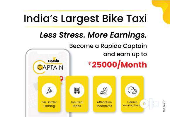 Rapido company hiring food delivery boys and bike riders