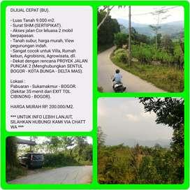 Tanah murah view indah 9.003 m2 SHM, 35 menit dr TOL CIBINONG-BOGOR.
