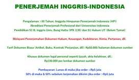 Penerjemah/Penterjemah/Translator Inggris-Indonesia Akreditasi UI