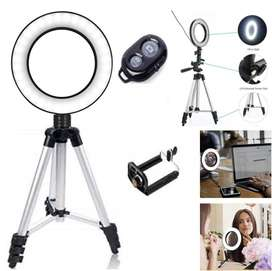 Selfie LED Ring Light & Tripod Shutter Remote Controller Mobile Holder