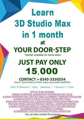 3ds Max, Adobe Premiere, Lumion, Learn Video Editing, AE, Home tuition