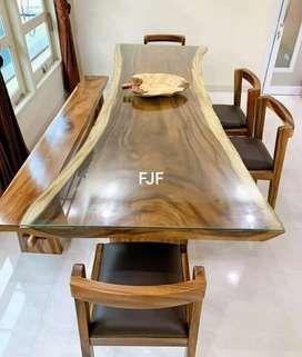 Set meja makan trembesi solid. FJF