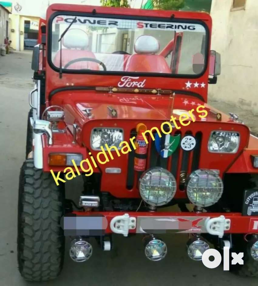 Red modified jeep 0