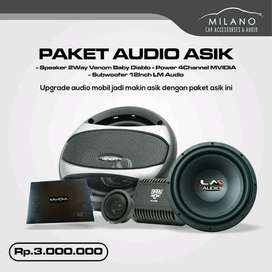 Paket Audio Asik Lengkap Power 4chn Subwoofer 12inch Speaker 2Ways