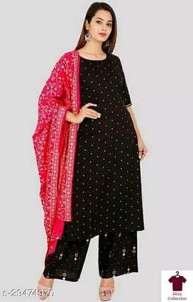 Adrika Alluring Women Kurta Sets  Kurta Fabric: Rayon Bottomwear