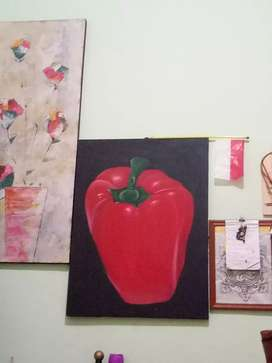 Lukisan buah paprika kanvas no nego
