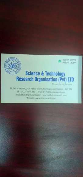 Need fresher for Science and Tech. Research