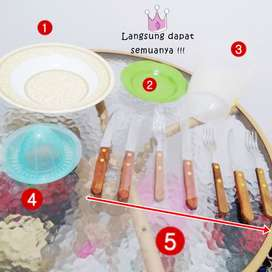 Set perlengkapan dapur perlengkapan masak peralatan makan barang bekas