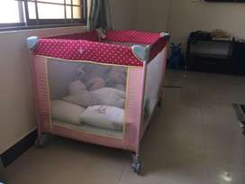 girls foldable cot with mattress