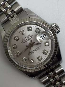 Rolex ladies SS Datejust Silver Dial with Diamonds